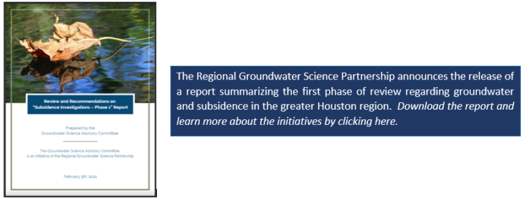 Regional Groundwater Science Partnership Releases Report Summarizing the First Phase of Review on Groundwater and Subsidence in the Region